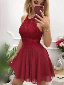 Stylish A-Line Halter Criss Cross Back Burgundy Chiffon Short Prom Dresses with Appliques,Cheap Homecoming Dresses,Party Dresses