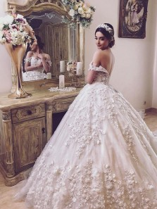 Marvelous Ball Gown Off the Shoulder Ivory Lace Wedding Dresses