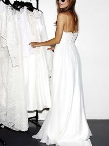 Chic A-Line Spaghetti Straps Open Back White Lace Wedding Dresses with Side Split