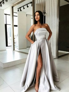 Modest Strapless Light Grey Satin Long Prom Dresses with Pockets,Side Split Evening Party Gown DG9012005