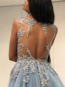 Luxurious A-Line Round Neck Open Back Blue Tulle Long Prom Dresses with Sequins,Charming Evening Party Dresses