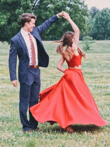 Charming A-Line Two Piece Spaghetti Straps Red Satin Long Prom Dresses with Lace Top,Formal Party Dresses