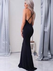Sexy Mermaid Deep V Neck Cross Back Black Elastic Satin Long Prom Dresses with High Split,Evening Party Dresses 191123005