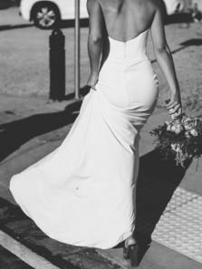 Chic Sweetheart Open Back White Elastic Satin Mermaid Wedding Dresses,Simple White Wedding Dresses DG0925005