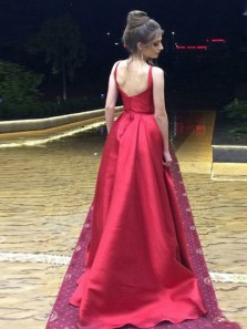 Stunning A-Line Round Neck Open Back Red Satin Long Prom Dresses with Pockets,Charming Evening Party Dresses