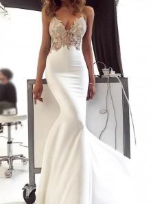 Glamorous Mermaid V Neck Spaghetti Straps White Satin Long Prom Dresses with Appliques,Simple Wedding Dresses 191118005
