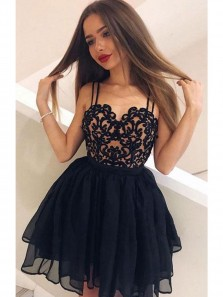 Sexy Lace Sweetheart Little Black Dress Short Prom Dresses, Cheap Homecoming Dresses