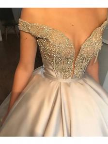 Luxurious Gothic Ball Gown Off Shoulder Satin Rhinestone Long Wedding Dress