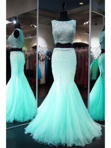 Mermaid Lace  Tulle Floor-length Beading Two Piece Teal Homecoming/Prom Dresses