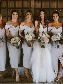 Elegant Sheath Off the Shoulder White Satin Midi Bridesmaid Dresses Under 100