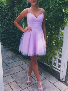 Cute A-Line Sweetheart Spaghetti Straps Lavender Short Homecoming Dresses,Back to School Dresses Under 90