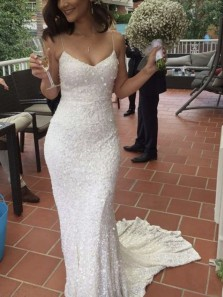 Sparkly Mermaid Spaghetti Straps Open Back White Sequins Long Prom Dresses with Train,Glitter Wedding Dresses