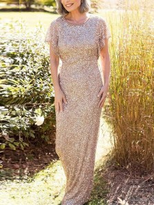 Elegant Sheath Round Neck Champagne Sequins Long Mother of the Bride Dresses,Wedding Party Dresses