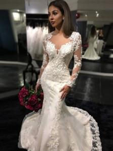 Elegant Mermaid Long Sleeve Ivory Lace Wedding Dresses with Train