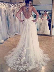 Boho A-Line Sweetheart Spaghetti Straps Cross Back Ivory Tulle Lace Wedding Dresses,Beach Wedding Dresses