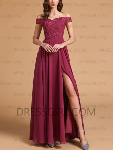 Charming A-Line Off the Shoulder Chiffon Long Prom Dresses with Appliques Split