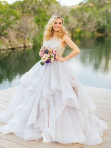 Charming Ball Gown Round Neck Open Back Tulle Wedding Dresses