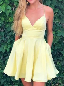 Simple A-Lien V Neck Spaghetti Straps Open Back Daffodil Satin Short Prom Dresses Under 100,Cheap Homecoming Dresses with Pockets