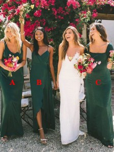 Simple 3 Styles Green Long Bridesmaid Dresses Under 100 for Wedding Party