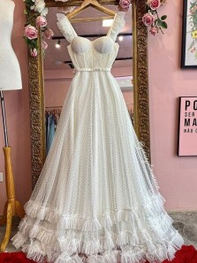 Charming A-Line Sweetheart Ivory Tulle Wedding Dresses
