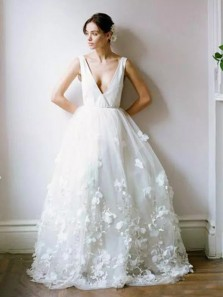 Unique A-Line Deep V Neck Open Back White Tulle Wedding Dresses with Lace