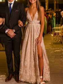 Chic A-Line Deep V Neck Open Back Champagne Lace Long Prom Dresses with Side Split,Charming Evening Dresses