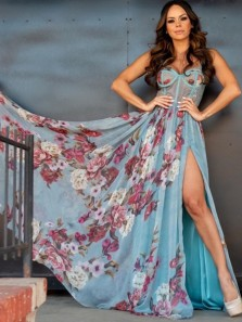 Fairy A-Line Sweetheart Floral Printed Chiffon Long Prom Evening Dresses with High Split,Formal Party Dresses