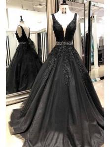 Elegant A-Line V Neck Backless Black Tulle Long Prom Dresses with Appliques,Evening Party Dresses