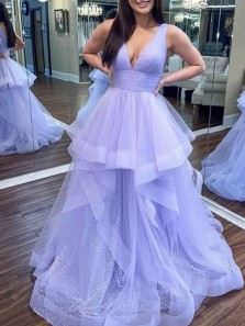 Charming A-Line V Neck Open Back Lavender Tulle Prom Dresses,Sequins Graduation Party Dance Dress