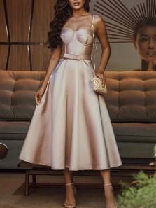 Elegant A-Line Sweetheart Champagne Satin Tea Length Prom Dresses,Wedding Guest Party Dresses