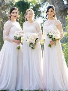 Elegant A-Line Jewel Neck White Long Sleeve Lace Bridesmaid Dresses