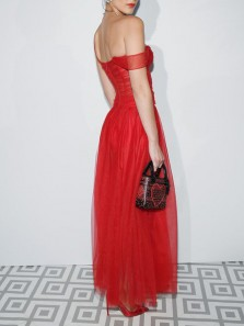 Glamorous A-Line Sweetheart Open Back Red Tulle Long Prom Dresses,Evening Party Dresses