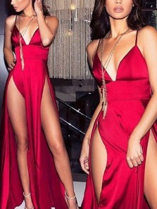 Sexy A-Line V Neck Open Back Dark red Satin Long Prom Dresses with High Split,Evening Party Dresses