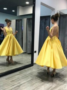 Cute A-Line V Neck Cross Back Yellow Satin Ankle Length Short Prom Dresses,Cocktail Party Dresses