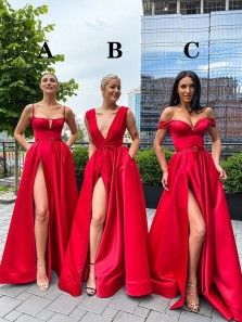 Elegant A-Line 3 Styles Red Satin Long Prom Evening Dresses with High Slit