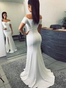 Unique Mermaid Off the Shoulder Short Sleeve White Elastic Satin Long Prom Dresses with Split,Evening Party Dresses