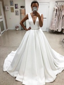 Elegant A-Line V Neck Beaded Crystal White Satin Long Wedding Dresses,Bridal Gown
