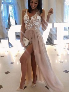 Unique A-Line V Neck Open Back Champagne Chiffon Long Prom Dresses with Appliques Split,Evening Party Dresses