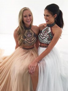 Cute Halter Neck Light Sky Blue Open Back 2 Piece Tulle Prom/ Homecoming Dress with Beading