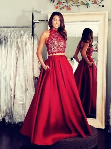 Two Piece A-Line Halter Open Back Dark Red Satin Long Prom Dresses with Pockets,Elegant Evening Dresses