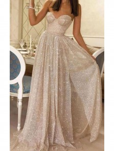 Sparkly A-Line Sweetheart Open Back Sequins Prom Dresses with High Slit