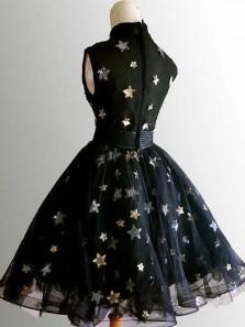 Pretty A-Line High Neck Black Homecoming Dresses Little Black Dresses Short Prom Dresses