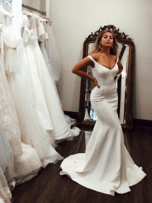 Simple Mermaid Off the Shoulder Open Back White Satin Long Prom Dresses,Formal Party Dresses