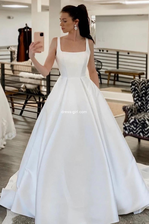 Elegant A-Line Square Neck White Satin Wedding Dresses with Pockets