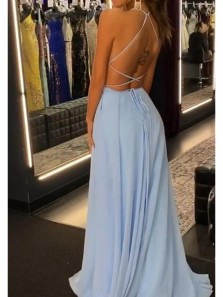 Simple A-Line Scoop Neck Cross Back Sky Blue Chiffon High Slit Prom Dresses Under 100