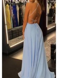 Simple A-Line Scoop Neck Cross Back Sky Blue Chiffon High Slit Prom Dresses Under 100