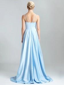 Gorgeous A-Line V Neck Spaghetti Straps Pink Satin Long Prom Eveninf Dresses with High Split