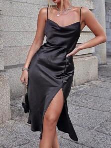 Sheath Cowl Neck Spaghetti Straps Black Silk Tea Length Wedding Guest Dresses with Side Slit