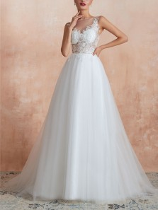 Elegant A-Line Boat Neck White Tulle Lace Wedding Dresses