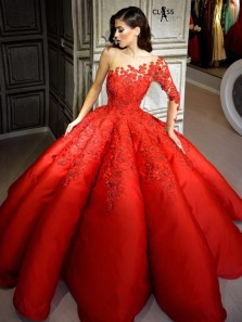 Unique Ball Gown One Long Sleeve Red Satin Long Prom Dresses with Appliques,Quinceanera Dresses